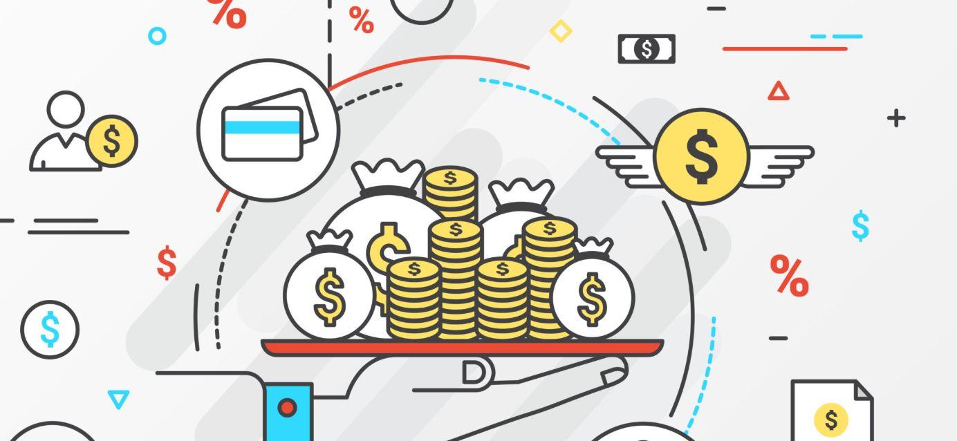 Money on scales graphic